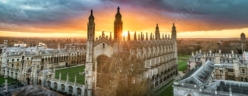 Canvas Print High angle view of the city of Cambridge, UK at beautiful sunset