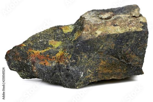 Fotografie, Obraz  uranium ore (pitchblende with uranophane) from Australia isolated on white backg
