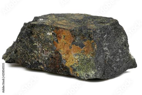 Fototapeta  uranium ore (pitchblende with uranophane) from Australia isolated on white backg