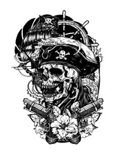 Pirate Skull With Ship Vector ...