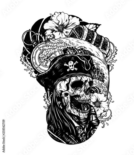 Fotografie, Tablou  Pirate skull with ship vector tattoo by hand drawing