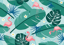 Seamless Pattern Tropical Summer Design Of Leaves And Flamingos Vector Illustration