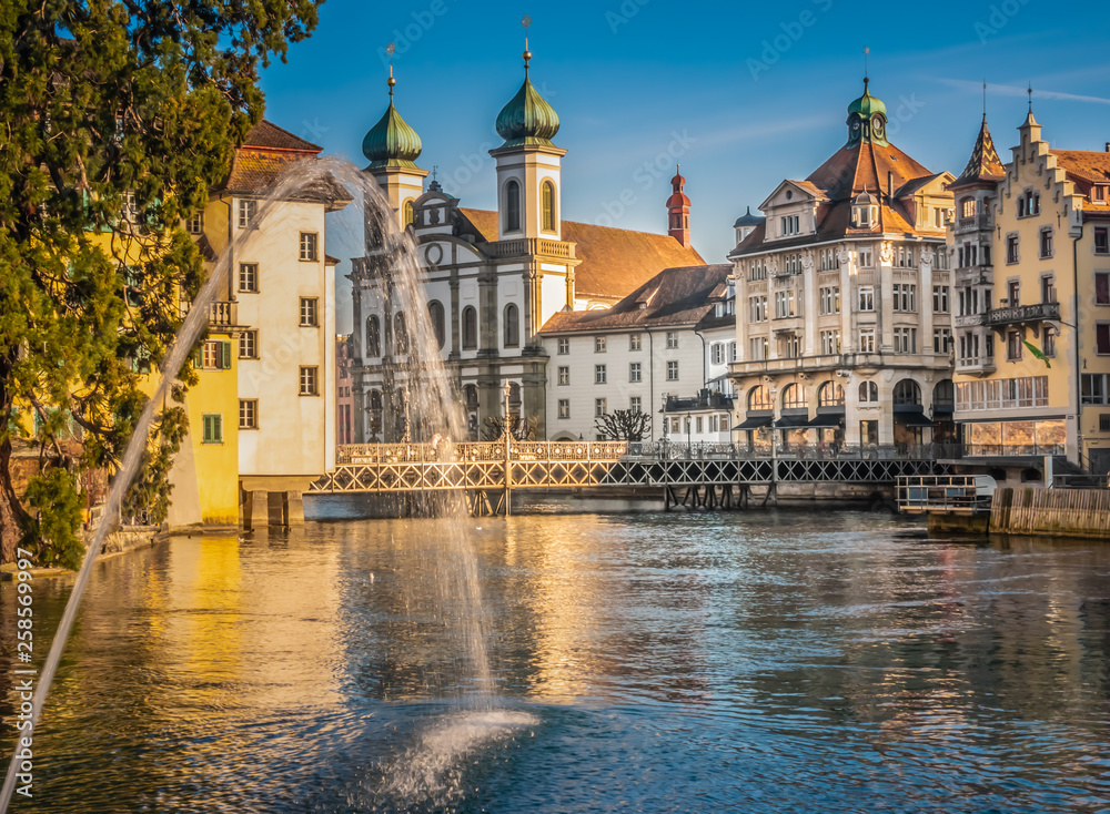 Fototapety, obrazy: Lucerne (Luzern), the largest city in Central Switzerland