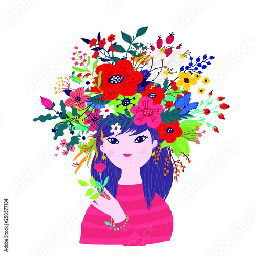 Photo sur Toile Papillons dans Grunge Illustration of a spring girl in a wreath of flowers. Vector. Illustration for banner, greeting card. Picture for March 8 and Mother's Day. Cartoon style. The image of summer and spring. Summer image.