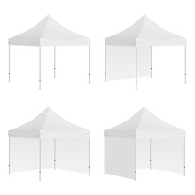 Set Of Outdoor Canopy Tents Mockups Isolated On White Background. Vector Illustration