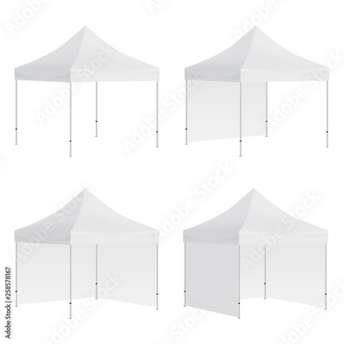 Set of outdoor canopy tents mockups isolated on white background Wallpaper Mural