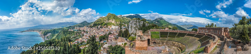 Ruins of Ancient Greek Theater of Taormina (Tauromenion in Greek), Metropolitan area of Messina, Eastern Sicily, Italy Fotobehang
