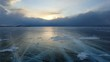 Sunset in the icy Lake Baikal Irkutsk region Russia. Full HD