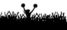 The Fans Cheering Along With The Cheerleader Silhouette. Crowd. Sport. Vector Illustration