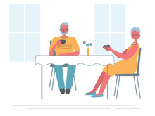 Senior Couple In The Cafe. Old Lady And Old Man Are Sitting At The Table And Drinking Tea. Funky Flat Style. Vector Illustration In Yellow And Blue Colors.