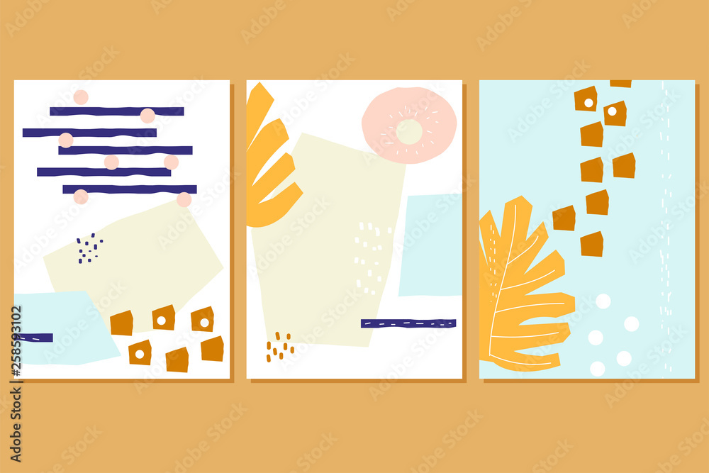 Set of fashion abstract cards for invitation or business. Contemporary hand drawn pattern. Vector illustration.