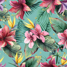Watercolor Seamless Pattern Of Tropical Flowers And Leaves On Blue Background