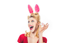Easter Woman. Woman Wearing A ...