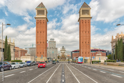 Venetian Towers on Plaza de Espana in Barcelona. Spain. Canvas Print