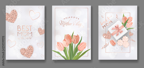 Mothers Day Greeting Card Design Set. Happy Mother Day Flyer with Flowers, Gifts and Golden Glitter Hearts for Poster, Banner, Invitation. Vector illustration