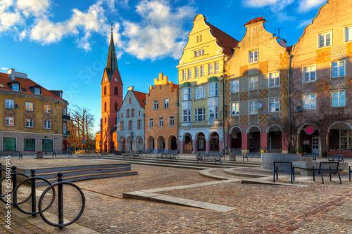 Obraz Panorama starego miasta w Olsztynie. Kościół ewangelicki Chrystusa Zbawiciela, Warmia - fototapety do salonu