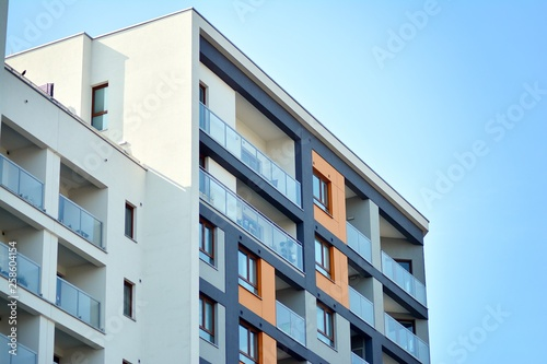 Fototapety, obrazy: Fragment of a modern apartment building in front. Very modern apartment house.