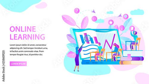Staande foto Kasteel Online Learning. Horizontal Banner. Study People