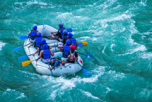 Adventure Water Sports, White Water Rafting In River Ganges Rishikesh India. Raft In Action Image