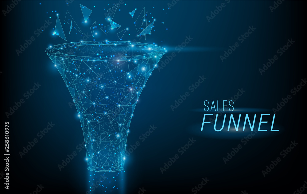 Fototapeta Sales funnel designed in 3D polygonal style,consisting of points, lines, and shapes on dark blue background. Vector big data or sales marketing funnel concept.