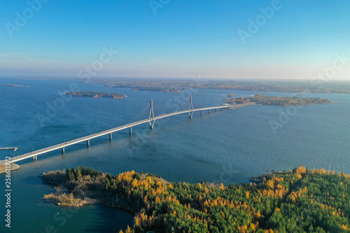 Photo Raippaluoto, Finland - October 14, 2018: Longest bridge of Finland at Raippaluot