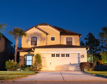 A Typical Florida House At Night