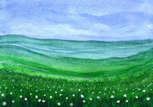 Green Grass Field With White Flowers In Watercolor