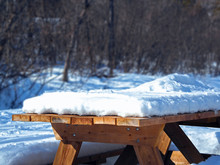 Snow Covered Picnic Table