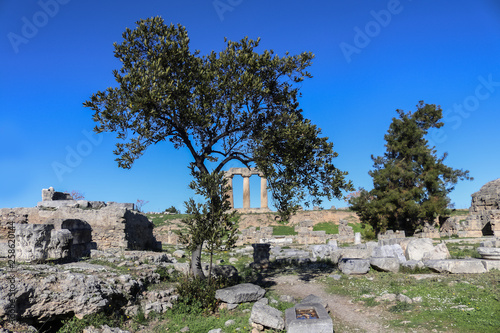 Fotografia, Obraz Corinth Greece - Remaining standing columns of Temple of Apollo viewed under the