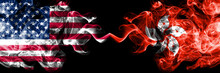 United States Of America Vs Hong Kong, China Smoky Mystic Flags Placed Side By Side. Thick Colored Silky Smoke Flags Of America And Hong Kong, China