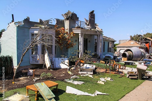 Paramount Studios Pictures Destroyed building after plane crash scene Canvas Print