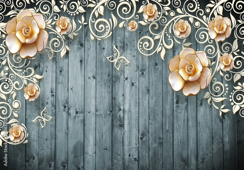 Fototapeta 3d wallaper design and gold fower background