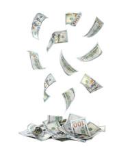 Many Dollar Banknotes On White...