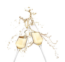 Glasses Of Champagne Clinking ...