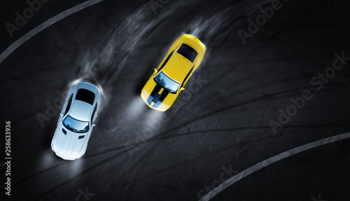 Canvas Print 3D rendering aerial top view two cars drifting battle the night time on race track, Two race cars view from above