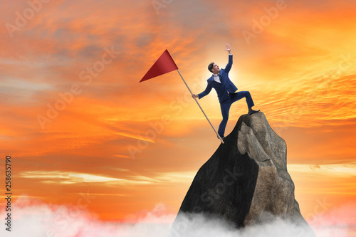 Fotografia  Businessman at the top of mountain