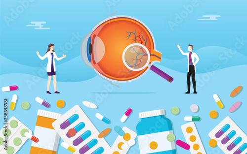 Fotografía human eye medicine health pills drug capsule treatment with doctor analysis - ve