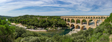 Panoramic View Of The Magnificent Three Tiered Pont Du Gard Aqueduct Was Constructed By Roman Engineers In The 1st Century AD In The South Of France
