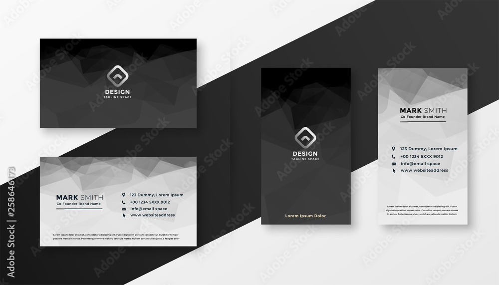 Fototapeta abstract black and white business card template