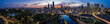 Panoramic view of the beautiful city of Melbourne as captured from above the Yarra river at sunset