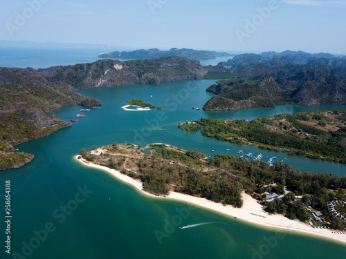 Photo Stands Caribbean Aerial view of Kilim Geoforest Park. There is sea, river, coastline, mangroves and mountains on the photo. Langkawi, Malaysia.