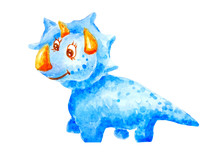 Watercolor Blue Kind Dinosaur Triceraptors Smiling And Friendly On White Background Isolated