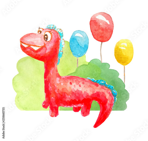 akwarela-czerwony-mily-dinozaur-kreskowka
