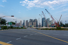 Singapore Skyline With Construction Site