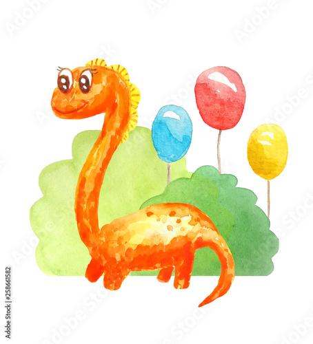 akwarela-pomaranczowy-mily-dinozaur-kreskowka