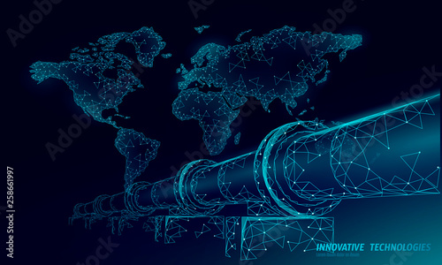 Fototapeta Oil pipeline world map business concept. Finance economy polygonal petrol production. Petroleum fuel industry transportation line connection dots blue vector illustration obraz