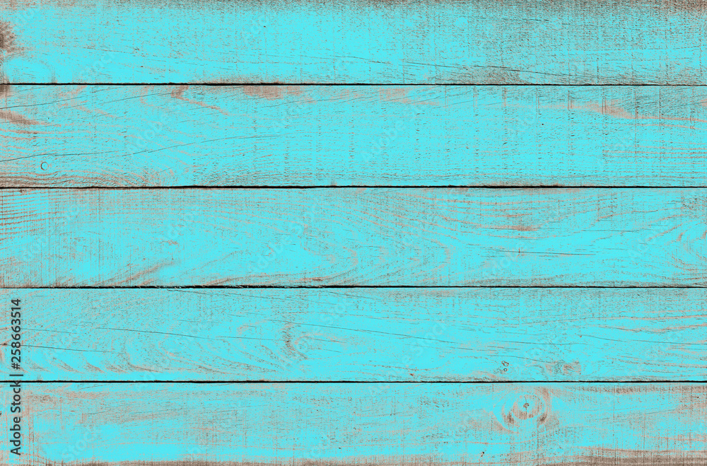 Fototapeta Old weathered wooden plank painted in turquoise blue color. Vintage beach wood background.
