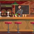 Bartender working in pub flat vector illustration