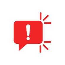 Attention Sign Icon In Flat Style. Warning Banner Vector Illustration On White Isolated Background. Information Business Concept.