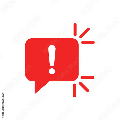 Obraz Attention sign icon in flat style. Warning banner vector illustration on white isolated background. Information business concept. - fototapety do salonu